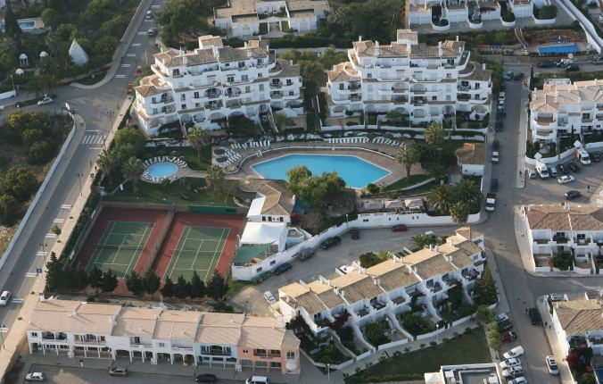 Pictures show aerial view of the Ocean Club in Luz, on the Algarve, Portugal, where 3 year old Maddy McCann went missing from her room while her parents had a drink in the complex bar.