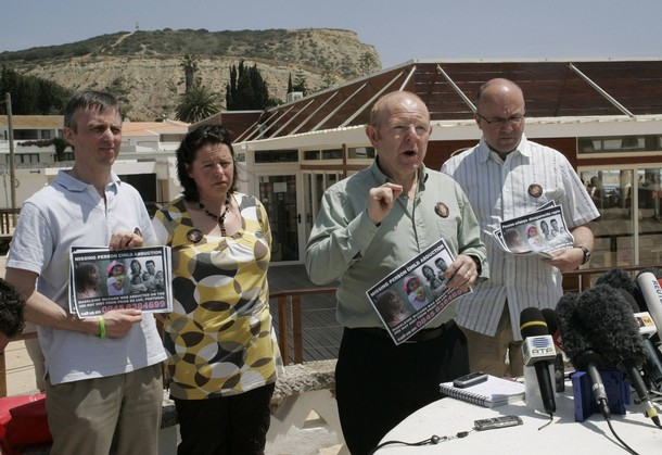 Relatives of missing British girl Madeleine McCann talk to journalists at Praia da Luz